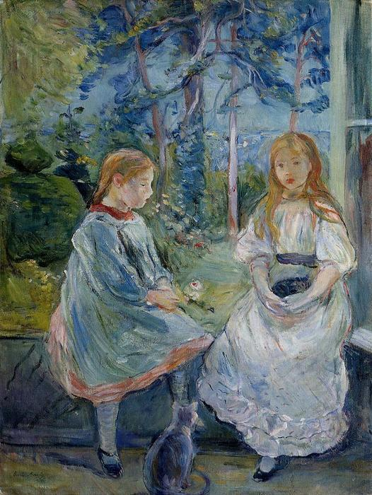 famous painting Little Girls at the Window (Jeanne and Edma Bodeau) of Berthe Morisot