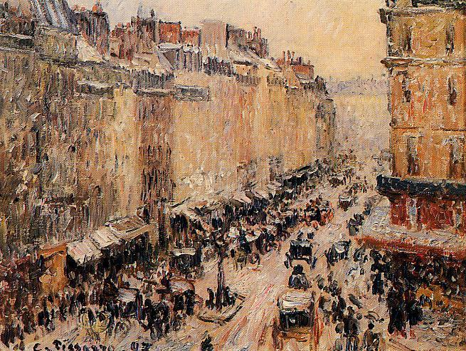 famous painting Rue Saint-Lazar under Snow of Camille Pissarro