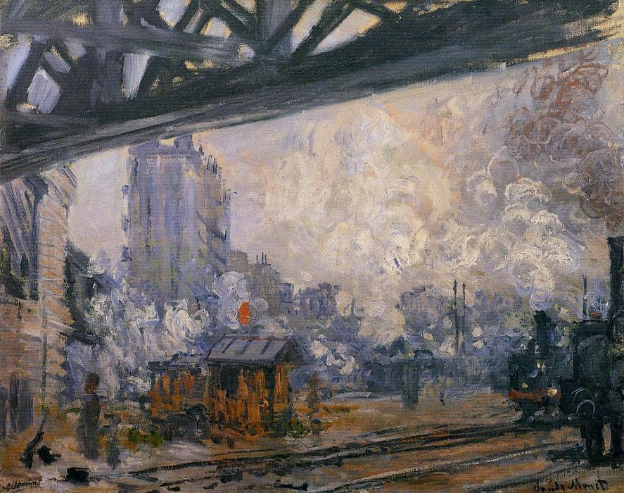 Buy Museum Art Reproductions | Exterior View of the Saint-Lazare Station by Claude Monet | Most-Famous-Paintings.com
