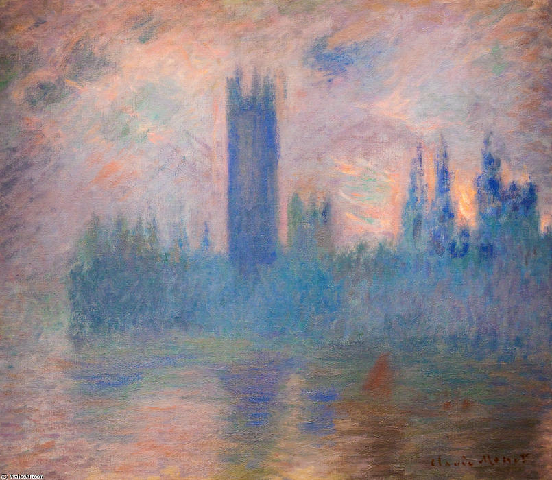 famous painting Houses of Parliament, Westminster of Claude Monet