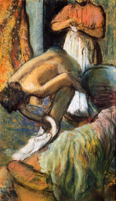 famous painting Breakfast after the Bath 2 of Edgar Degas