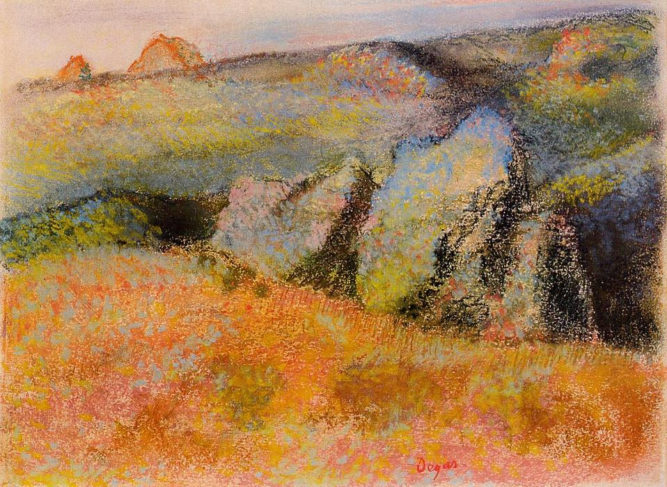 Order Reproductions | Landscape with Rocks by Edgar Degas | Most-Famous-Paintings.com