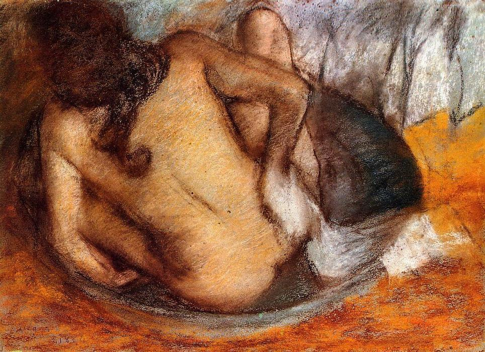 Order Paintings Reproductions | Nude in a Tub by Edgar Degas | Most-Famous-Paintings.com