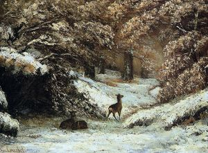 Gustave Courbet - Deer Taking Shelter in Winter