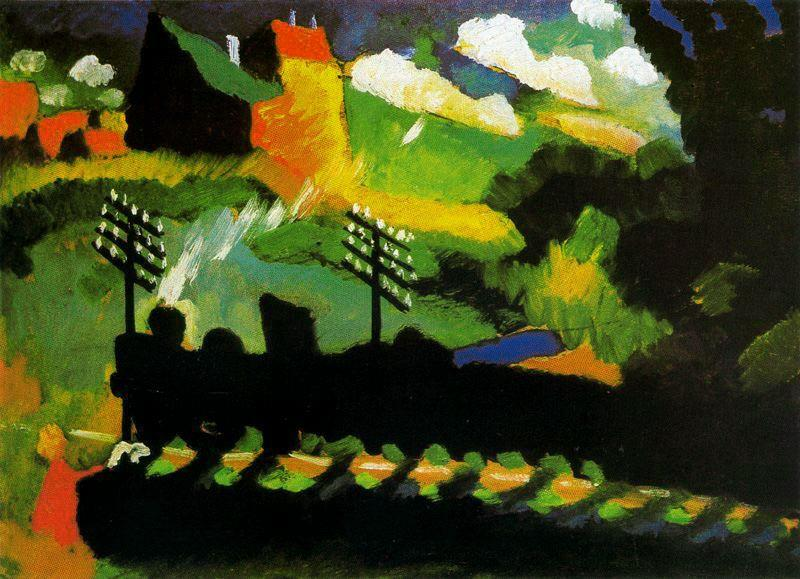 famous painting View of Murnau with train and castel of Wassily Kandinsky