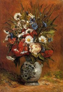 Paul Gauguin - Daisies and Peonies in a Blue Vase