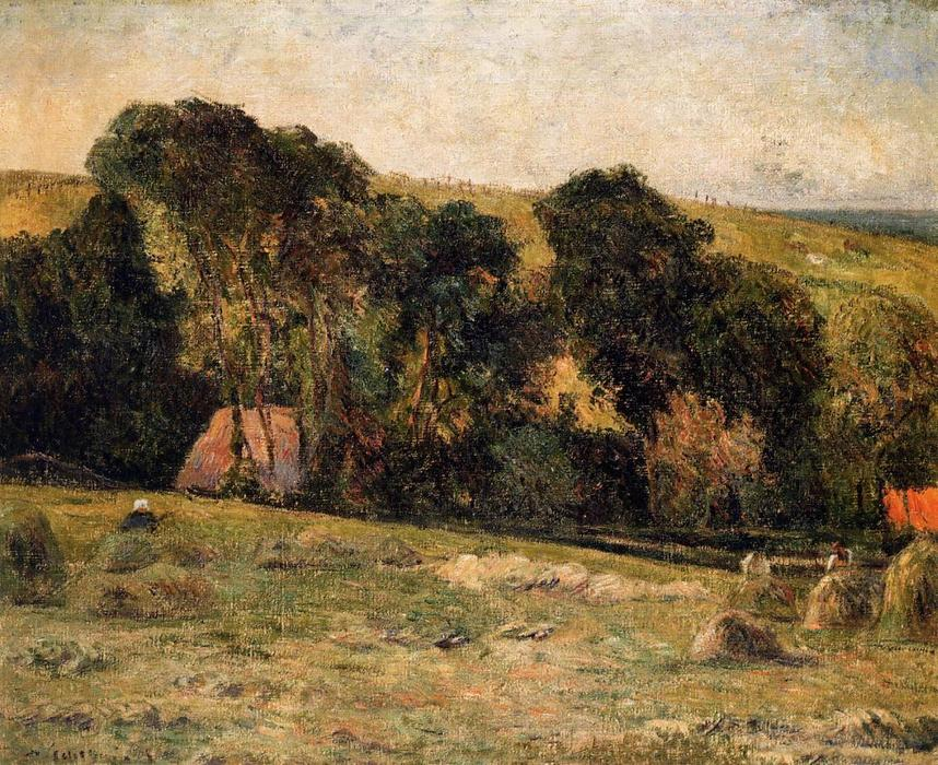famous painting Haymaking near Dieppe of Paul Gauguin