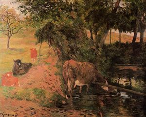Paul Gauguin - Landscape with Cows in an Orchard