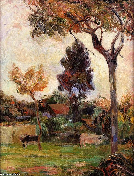 famous painting Two cows in the meadow of Paul Gauguin