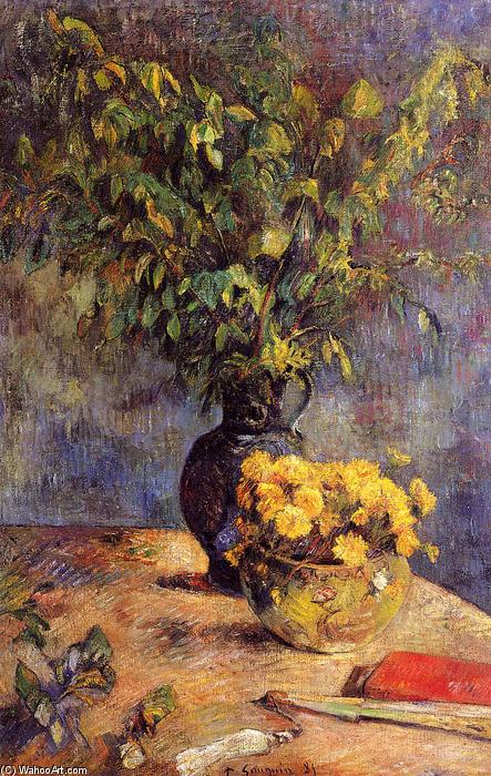famous painting Two vases of flowers and a fan of Paul Gauguin