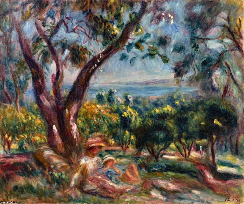 famous painting Cagnes Landscape with Woman and Child of Pierre-Auguste Renoir