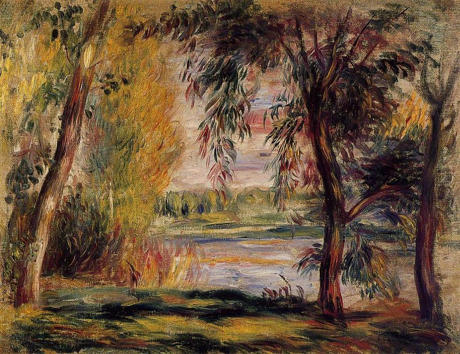 famous painting Trees by the Water of Pierre-Auguste Renoir
