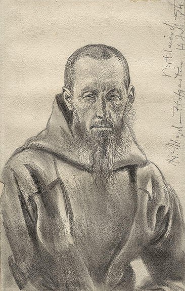 famous painting Begging Monk of Adolph Menzel