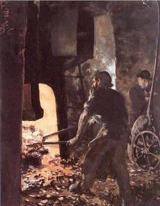 Adolph Menzel - Self-Portrait with Worker near the Steam-hammer