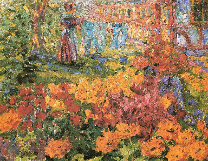 | Flower Garden (Girl and Washing) by Emile Nolde | Most-Famous-Paintings.com