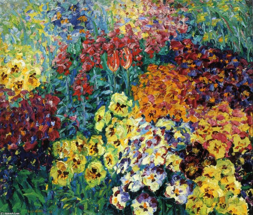 famous painting Flower Garden. Pansies of Emile Nolde