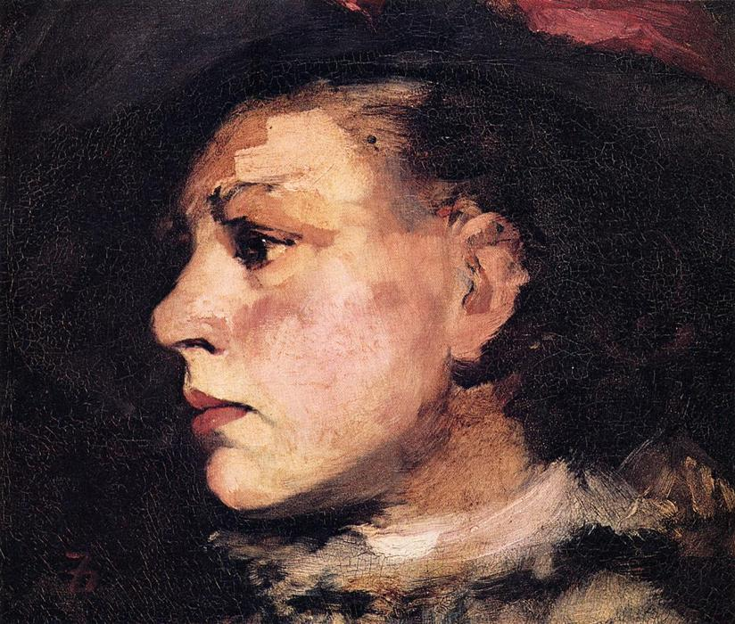 famous painting Profile of Girl with Hat of Frank Duveneck