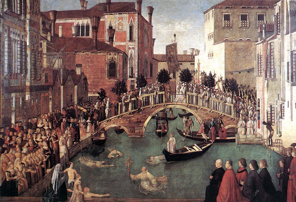 famous painting Miracle of the Cross at the Bridge of S. Lorenzo of Gentile Bellini