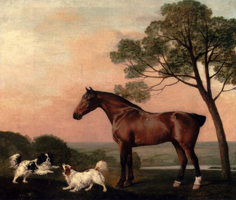 Buy Museum Art Reproductions | A Bay Hunter With Two Spaniels by George Stubbs | Most-Famous-Paintings.com