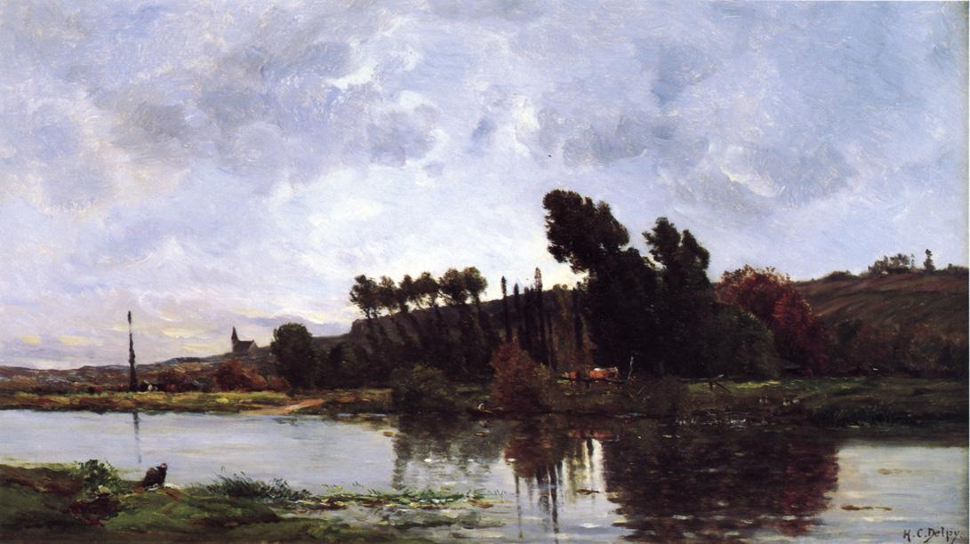 famous painting The Banks of a River of Hippolyte Camille Delpy