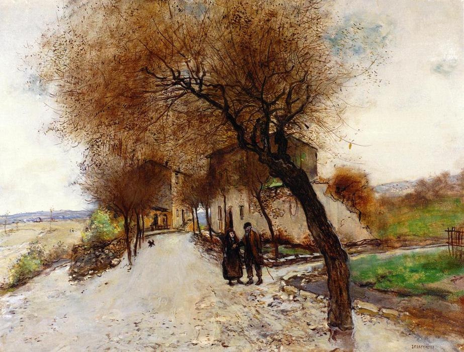 famous painting Strollers Leaving a Village of Jean-François Raffaelli