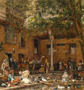 John Frederick Lewis - Study for `The Courtyard of the Coptic Patriarch's House in Cairo'