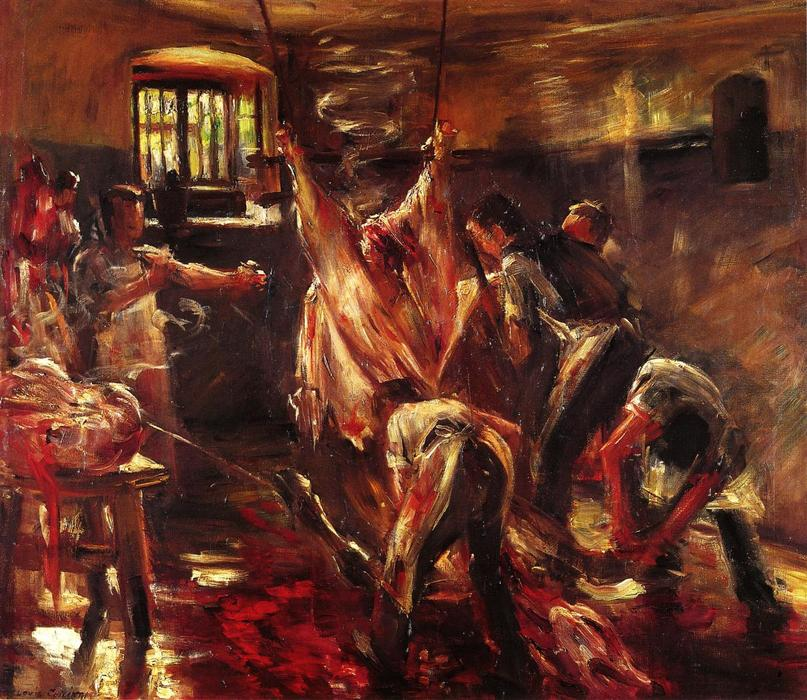 Order Art Reproductions : In the Slaughter House by Lovis Corinth (Franz Heinrich Louis) | Most-Famous-Paintings.com
