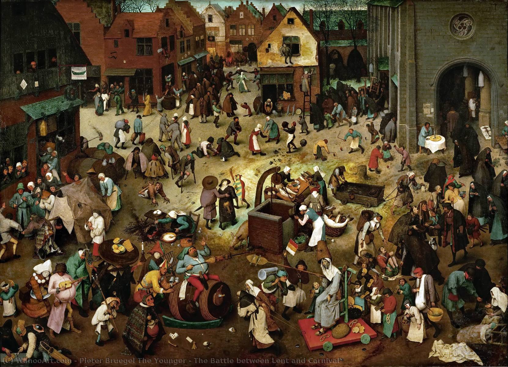 famous painting The Battle between Lent and Carnival of Pieter Bruegel The Younger