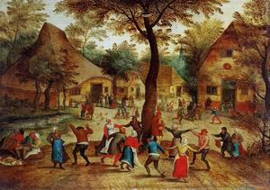Pieter Bruegel The Younger - Village Scene with Dance around the May Pole