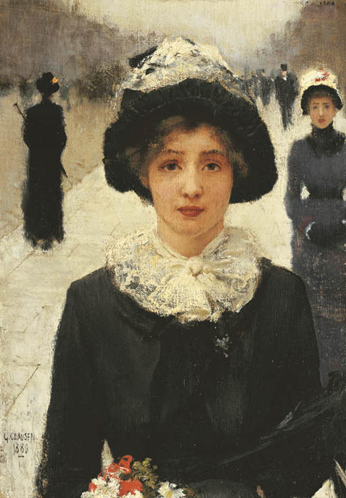 Buy Museum Art Reproductions | In the Street by George Clausen | Most-Famous-Paintings.com