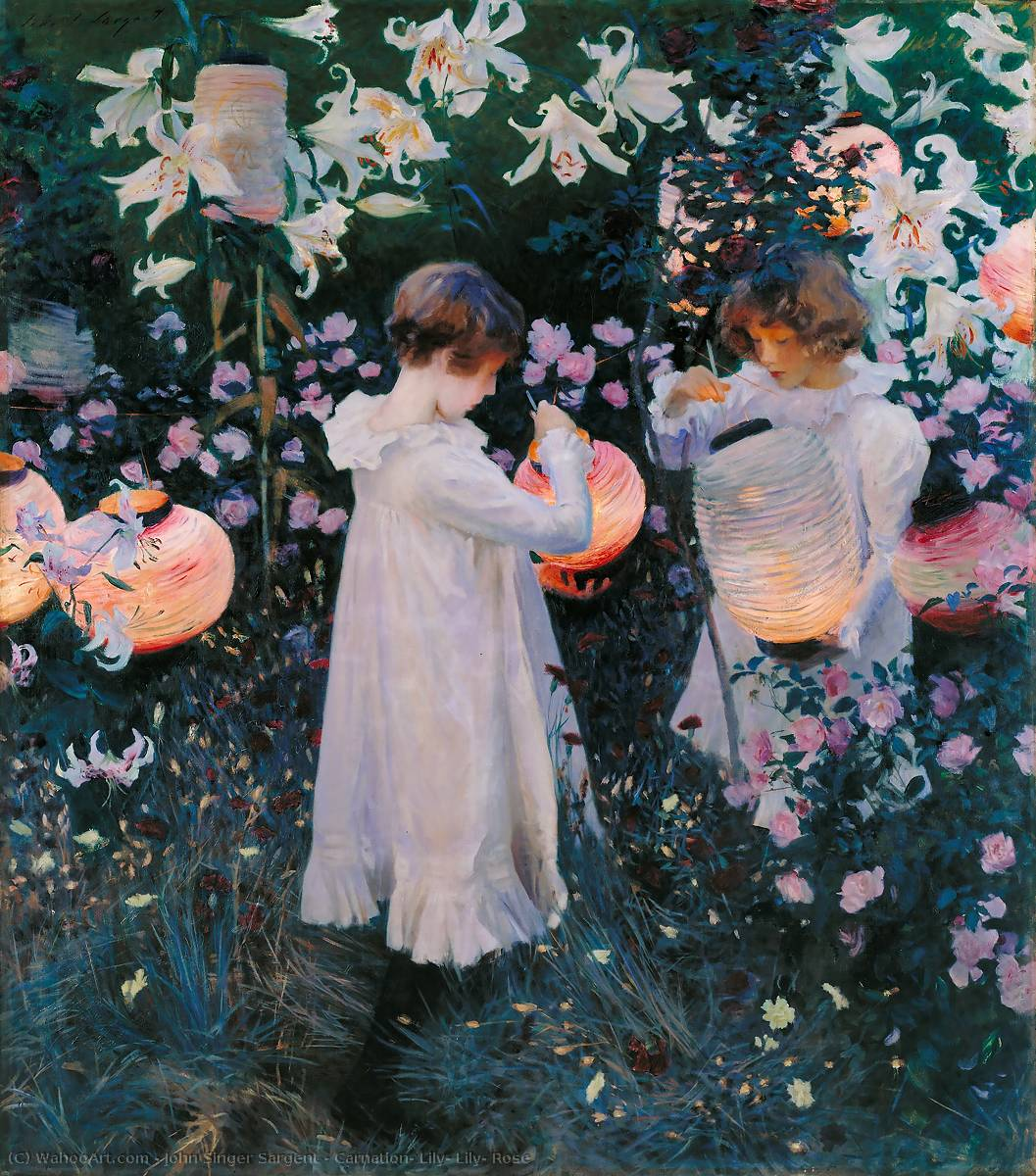 Buy Museum Art Reproductions | Carnation, Lily, Lily, Rose by John Singer Sargent | Most-Famous-Paintings.com