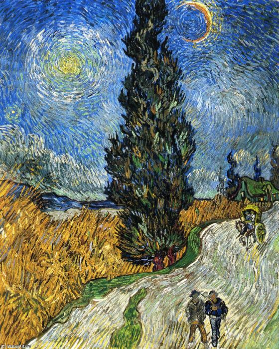 Order Paintings Reproductions | Cypress against a Starry Sky (also known as Road with Cypresses) by Vincent Van Gogh | Most-Famous-Paintings.com