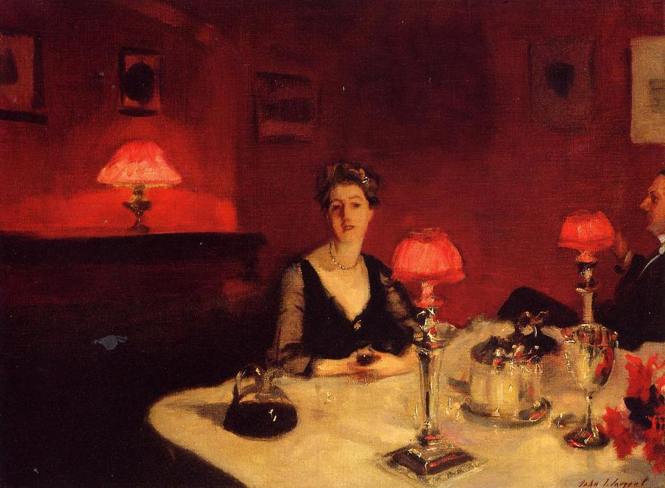 famous painting A Dinner Table at Night (also known as Mr. and Mrs. Albert Vickers) of John Singer Sargent
