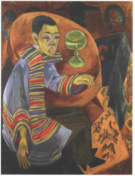 Buy Museum Art Reproductions | The Drinker (self-portrait) by Ernst Ludwig Kirchner | Most-Famous-Paintings.com