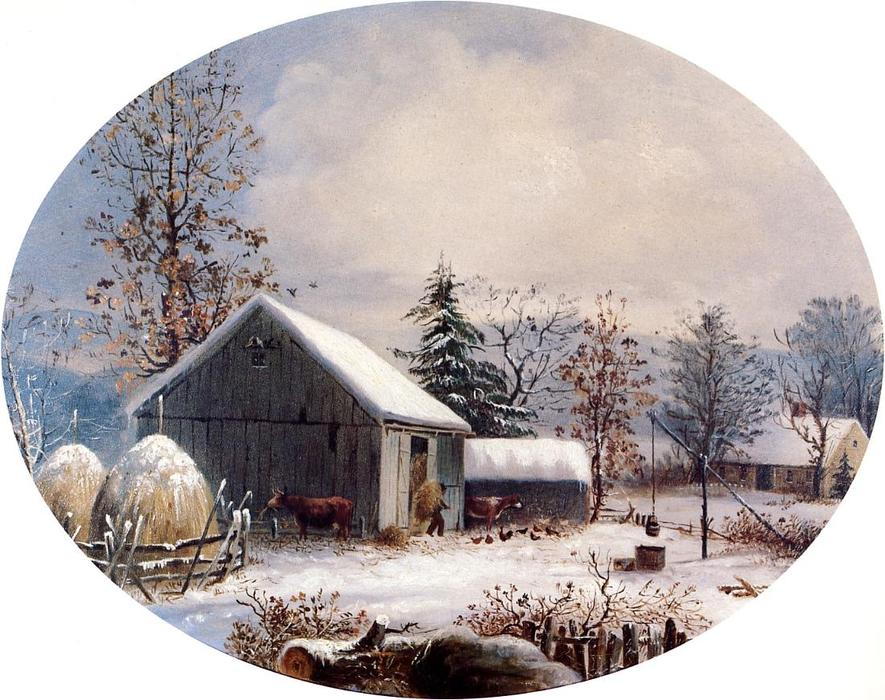 famous painting Farmyard in Winter of George Henry Durrie