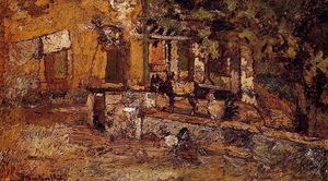 Adolphe Joseph Thomas Monticelli - Farmyard with Donkeys and Roosters