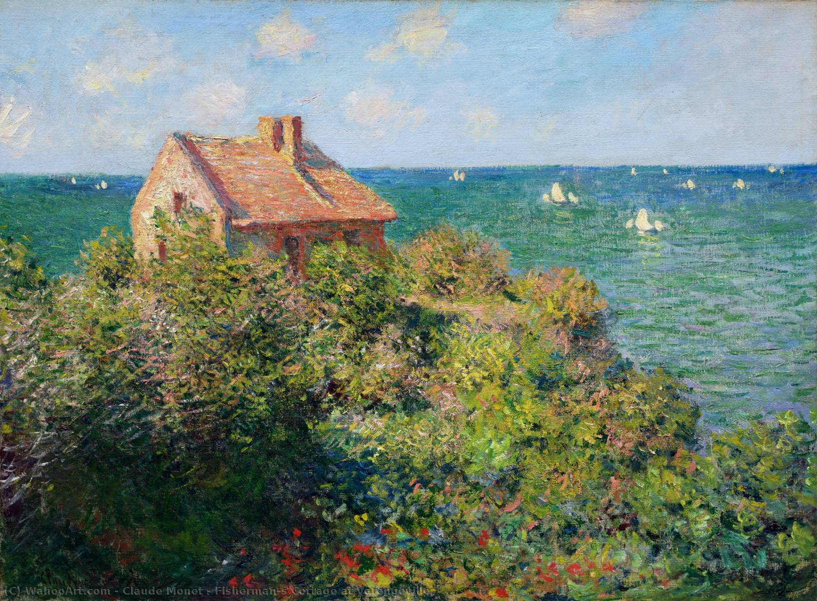 Buy Museum Art Reproductions | Fisherman's Cottage at Varengeville by Claude Monet | Most-Famous-Paintings.com
