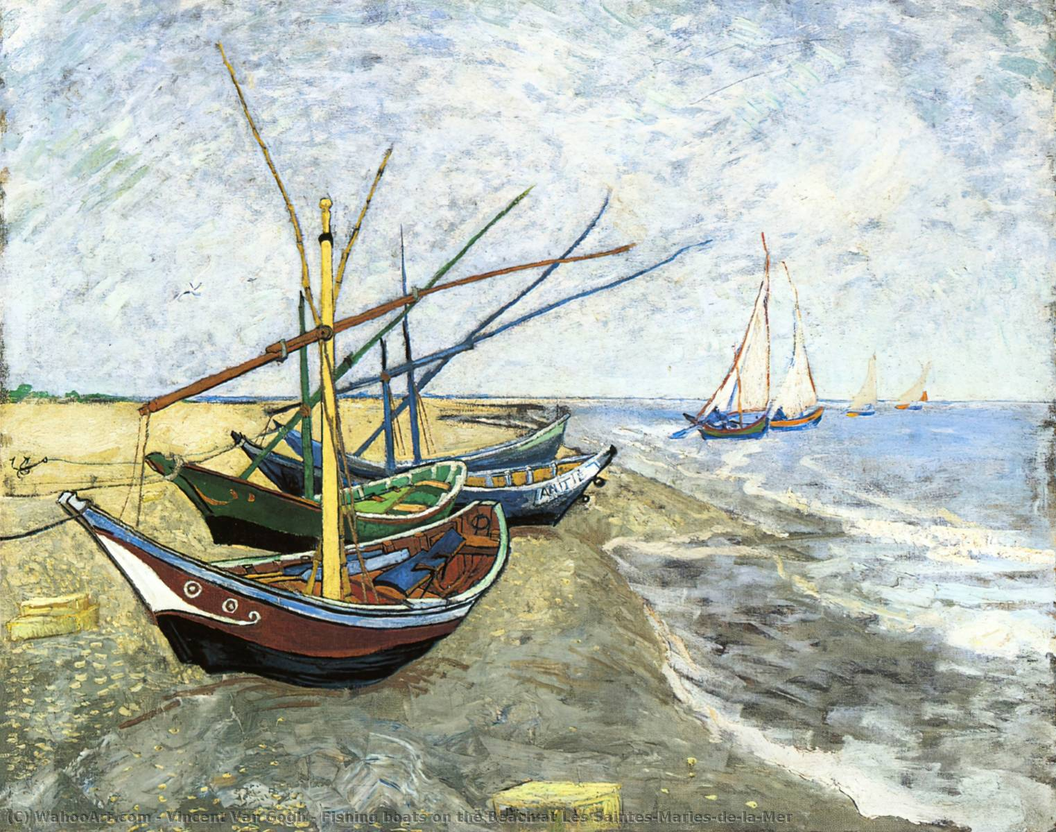 famous painting Fishing boats on the Beach at Les Saintes-Maries-de-la-Mer of Vincent Van Gogh