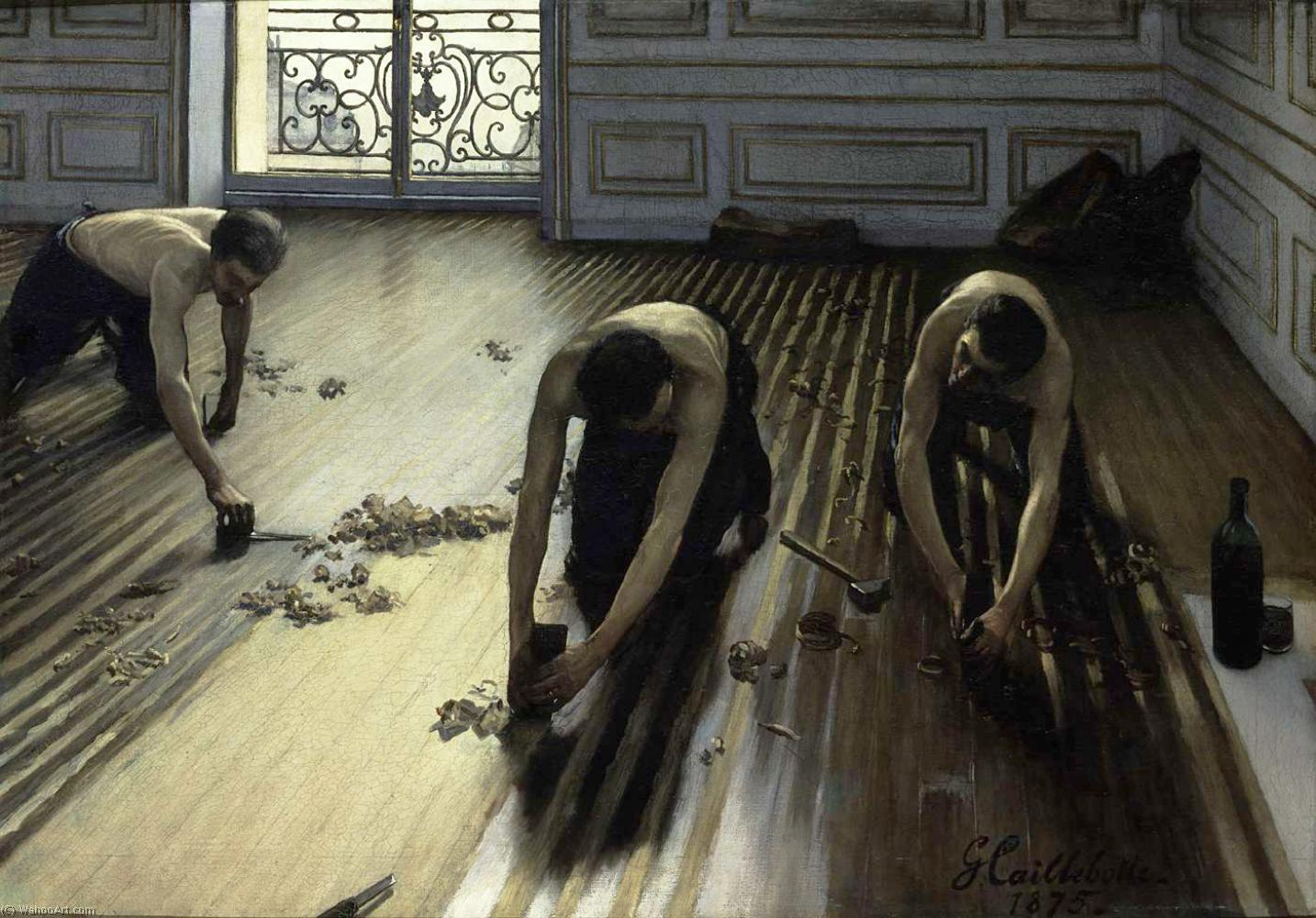 Order Oil Painting : The Floor Scrapers (also known as The Floor Strippers) by Gustave Caillebotte | Most-Famous-Paintings.com