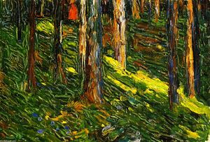 Wassily Kandinsky - Forest Landscape with Red Figure