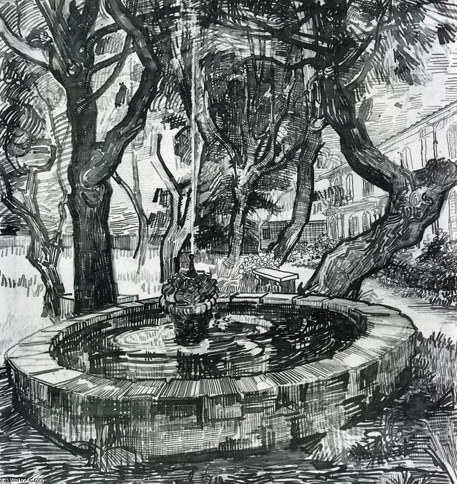famous painting Fountain in the Garden of Saint-Paul Hospital of Vincent Van Gogh