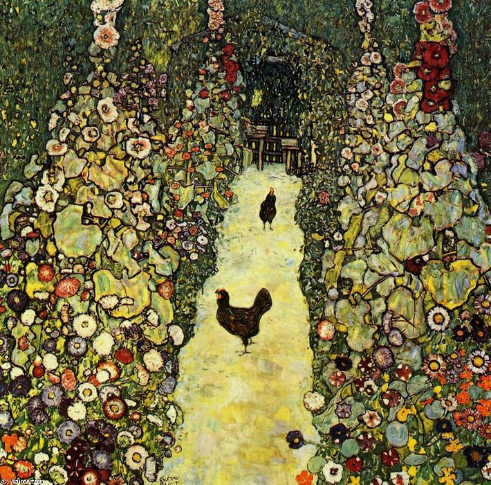famous painting Garden with Roosters of Gustav Klimt