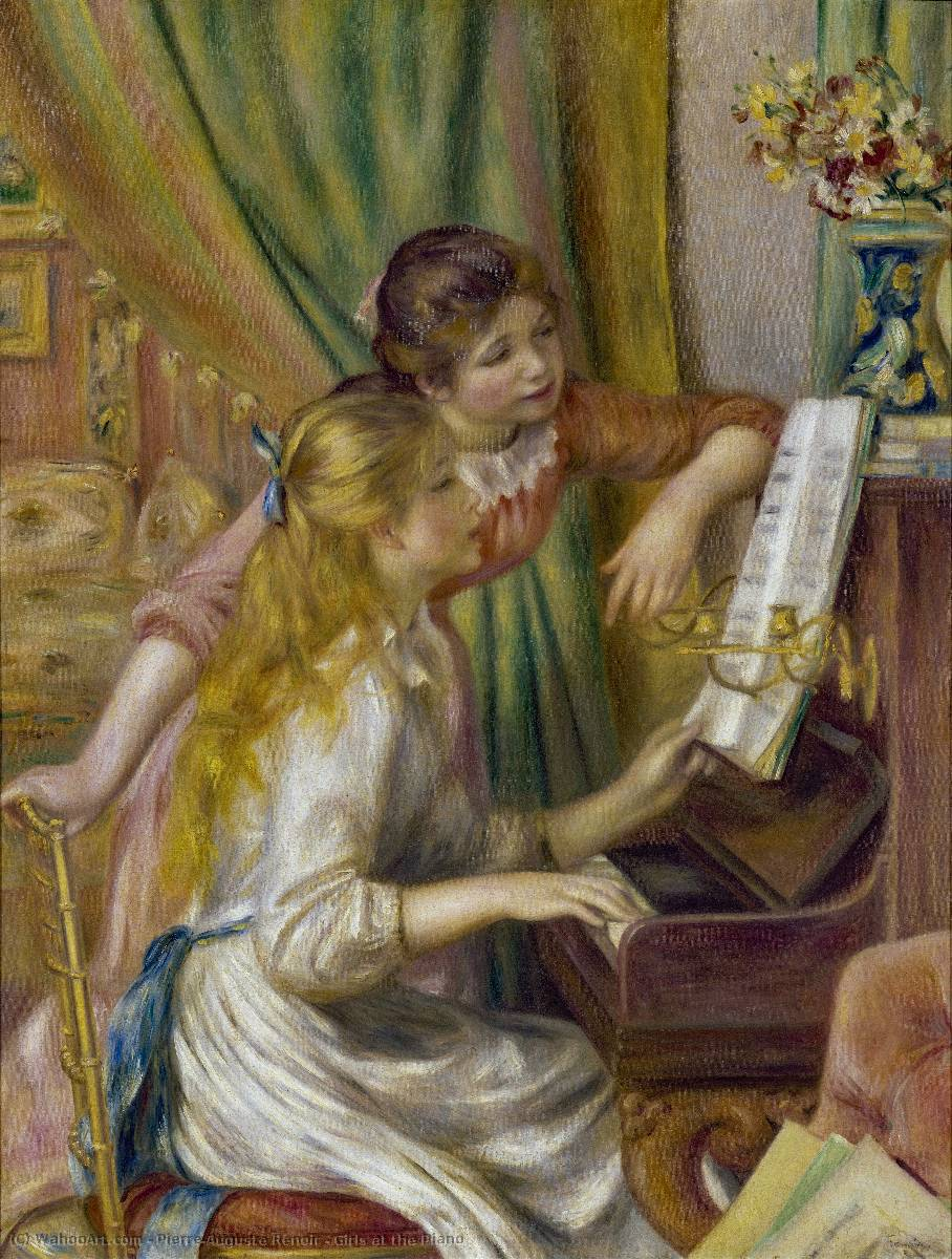 famous painting Girls at the Piano of Pierre-Auguste Renoir