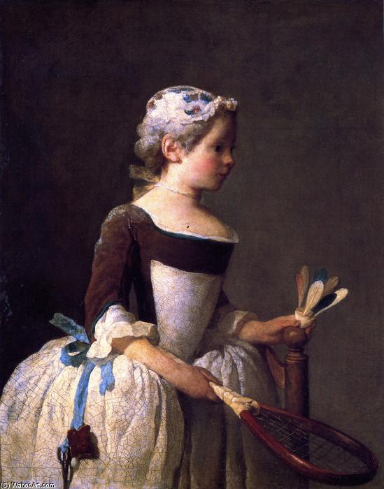 famous painting Girl with Shuttlecock of Jean-Baptiste Simeon Chardin