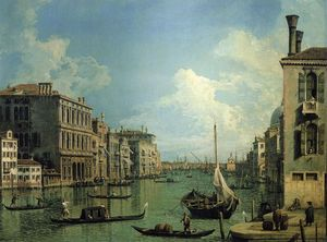 Giovanni Antonio Canal (Canaletto) - Grand Canal Near the Campo San Vio, Looking Towards the Church of Santa Maria della Salute
