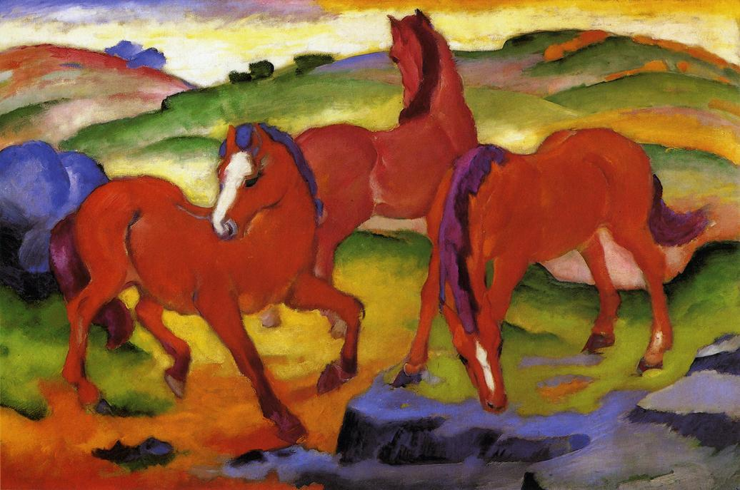 famous painting Grazing Horses IV (also known as The Red Horses) of Franz Marc