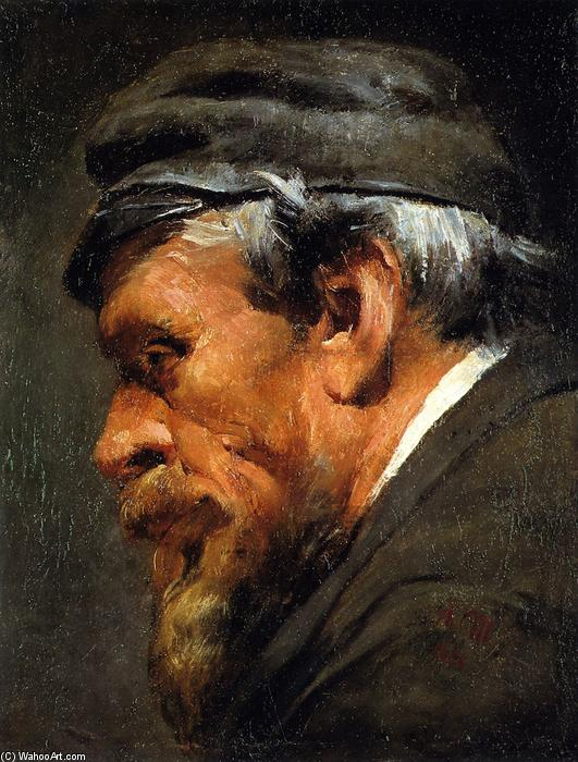 famous painting Head of a Worker Wearing a Cap of Adolph Menzel