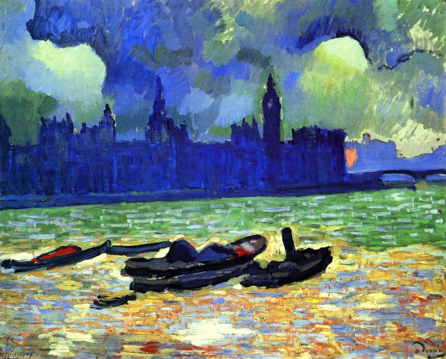 famous painting Houses of Parliament at Night, London of André Derain