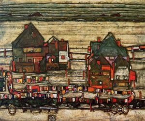 Egon Schiele - Houses with Laundry (also known as Seeburg II)