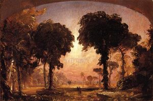 Jasper Francis Cropsey - Ideal Landscape: Homage to Thomas Cole
